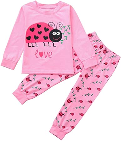 TM New Style Little Boy Pajamas Sets,Jchen Baby Kids Little Boys Long Sleeve Big Eyes Cartoon Print Top Pants Suit Home Wear Outfits for 1-5 T Age: 2-3 T, Blue