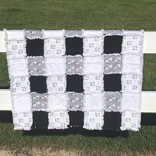 Be Brave, Little One baby quilt black and white and one odd zebra by Laughing Heart Designs