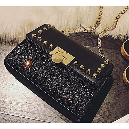 Handbags Gmyan Rainbow Pu Bag Black Riveting polyurethane Black Rainbow Shoulder wHrTWdfHnq
