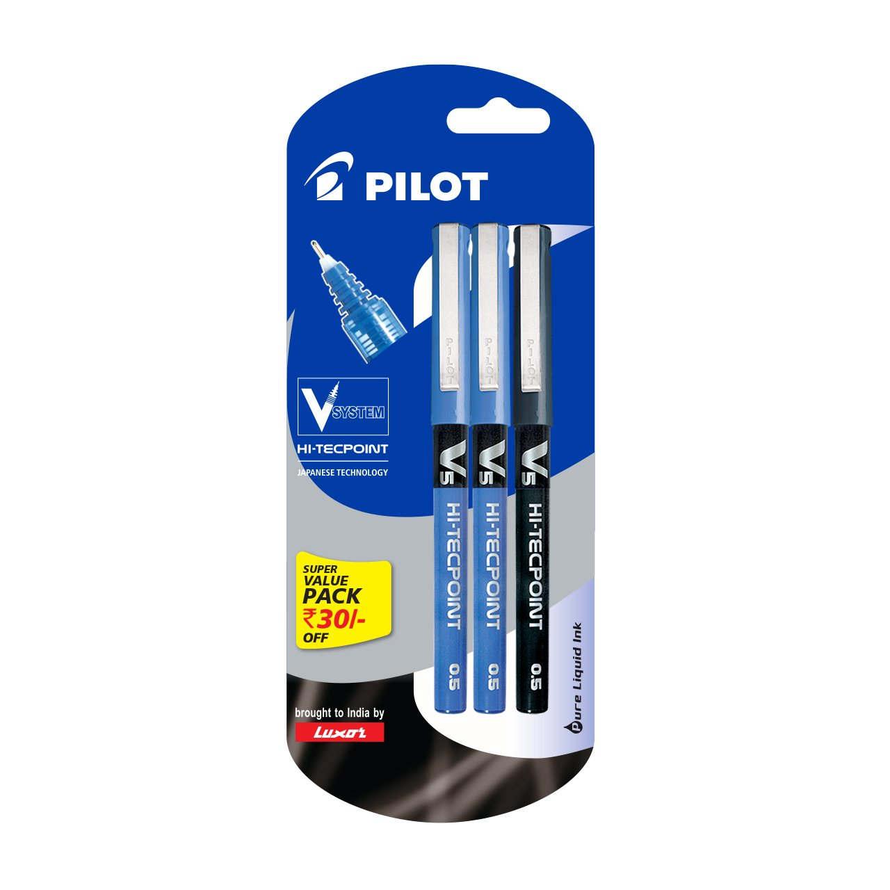 Pilot V5 Liquid Ink Roller Ball Pen - 2 Blue + 1 Black