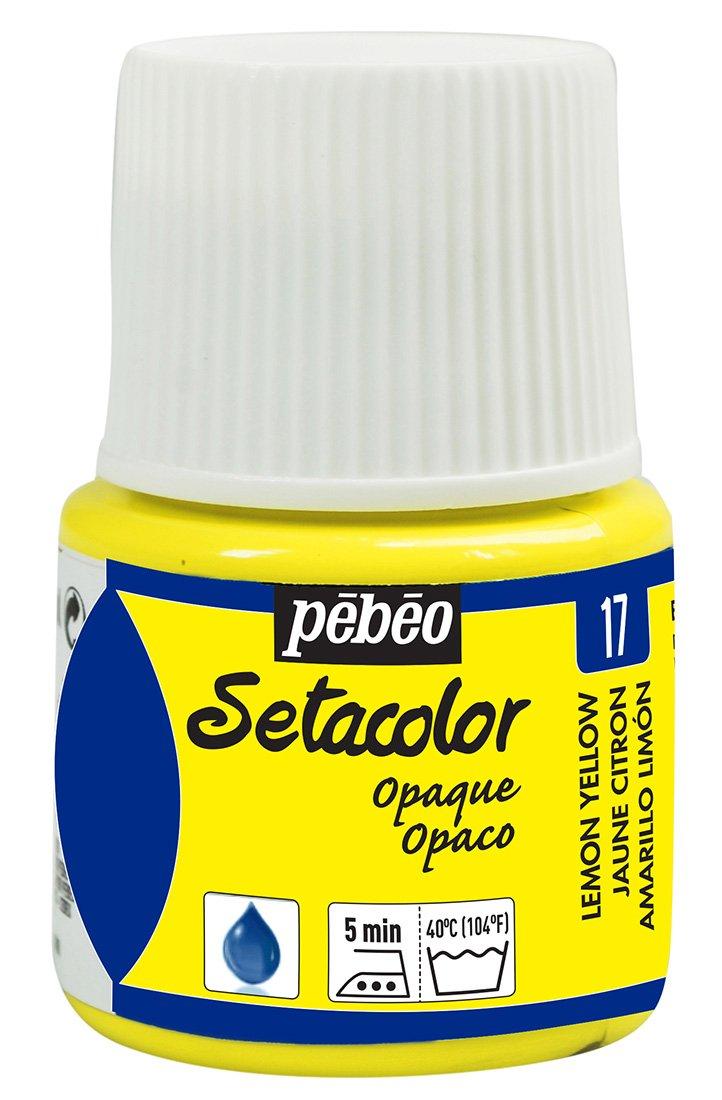 Pebeo Setacolor Opaque Fabric Paint 45-Milliliter Bottle, Lemon Yellow,Lemon Yellow 295-017