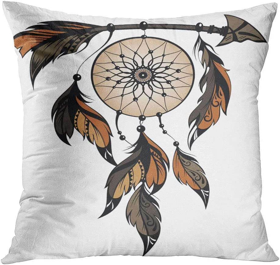 Joaffba Throw Pillow Cover Decorative 16x16 Inch Pillow Case Dream Catcher American Ancient Apache Arrow Cherokee Home Car Sofa Office Meeting Room Decor Cushion Pillowcase