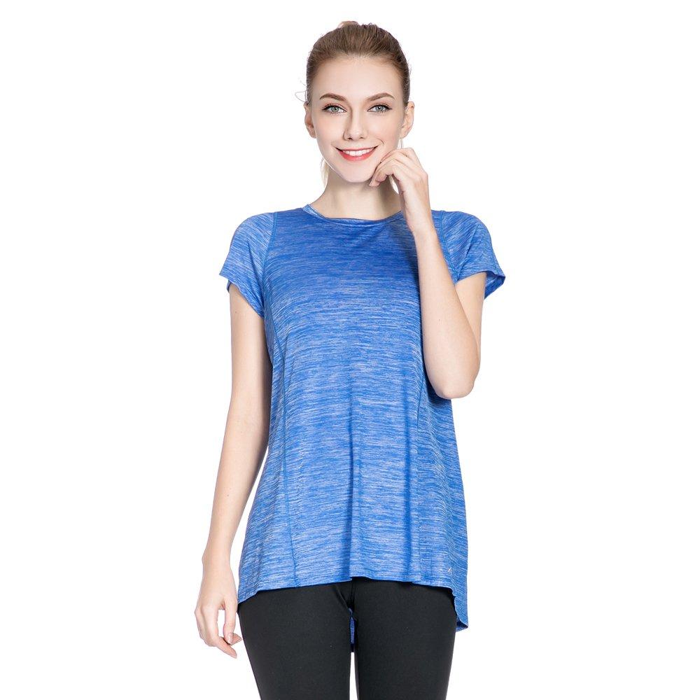 SPECIALMAGIC Women\'s Short Sleeve Crew Neck Activewear Stretchy Workout T Shirt Royal Blue L
