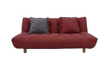 meubletmoi canap bz convertible 3 places lit clic clac tissu rouge haute qualit 2 coussins - Canape De Qualite