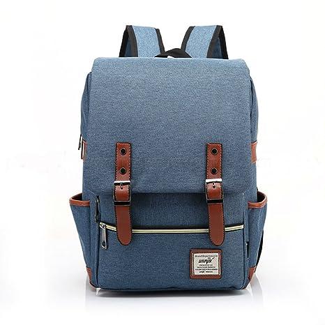 6b6af64c60 Image Unavailable. Image not available for. Color  Blue Girl Women Men Canvas  Leather Travel Backpack Satchel Rucksack Laptop School Bag