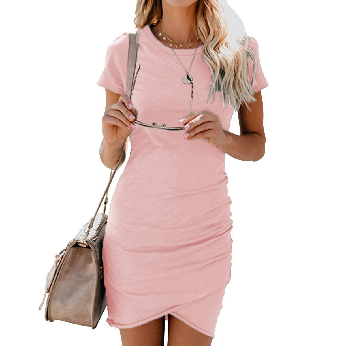 Women Short Sleeve Irregular Hem Bodycon Mini Solid Summer Casual Dresses Pink M