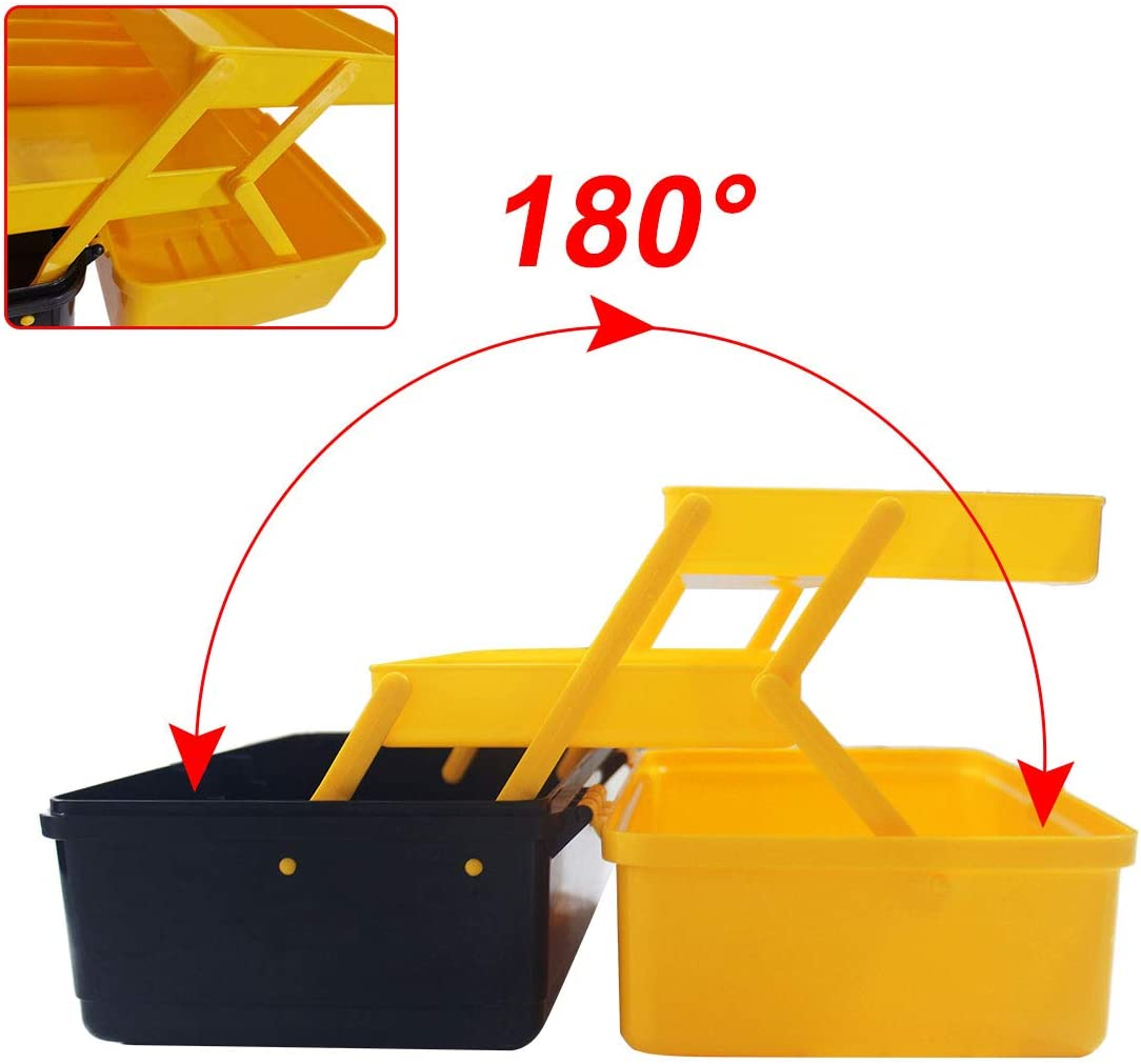 WEWLINE Tool Box with 3-Layers,Multi-Purpose Tool Organizers and Storage with Tray and Dividers Household Plastic Folding Storage Box