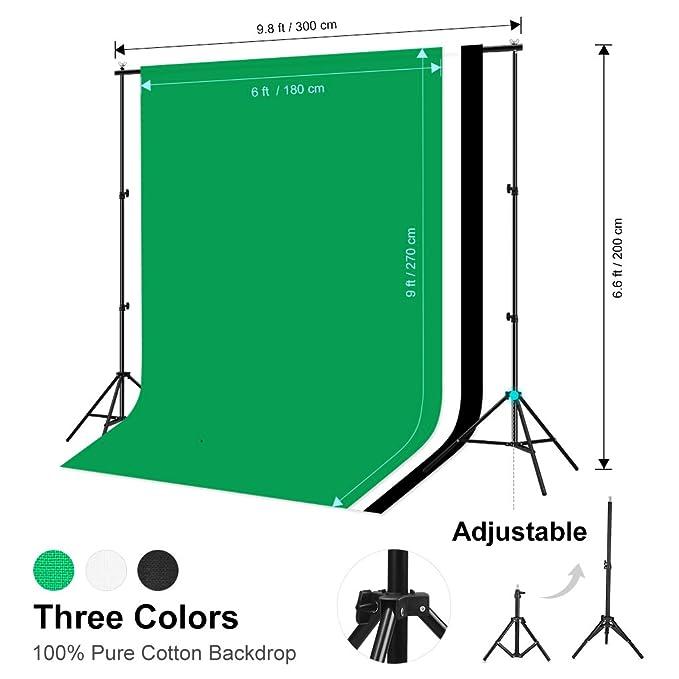 CRAPHY Softbox Kit Iluminación Fotografía, 3 Fondo Muselina 1,8 mx 2,8 m con Portafondos 3 mx 2 m, 2 Ventana de Luz 50 cm x 70 cm, 2 Trípode Luz ...