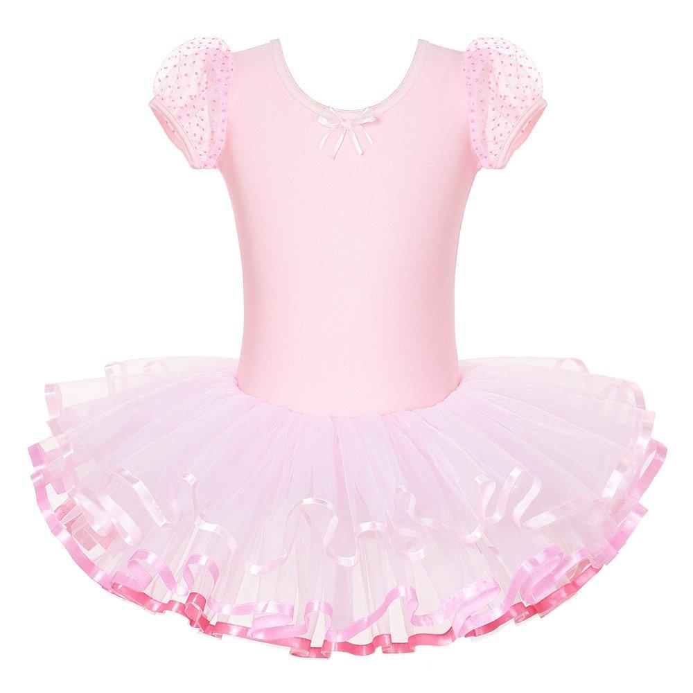 キッズ ワンピース 半袖 キラキララインストーン ダンスコスチューム チュチュバレエドレス 小さな女の子用 38歳 B00X26SU4M M|D-pink D-pink M