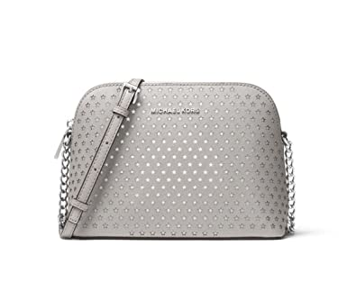 cea1a5bddf MICHAEL Michael Kors Cindy Perforated Saffiano Star Leather Crossbody in Pearl  Grey  Amazon.co.uk  Shoes   Bags