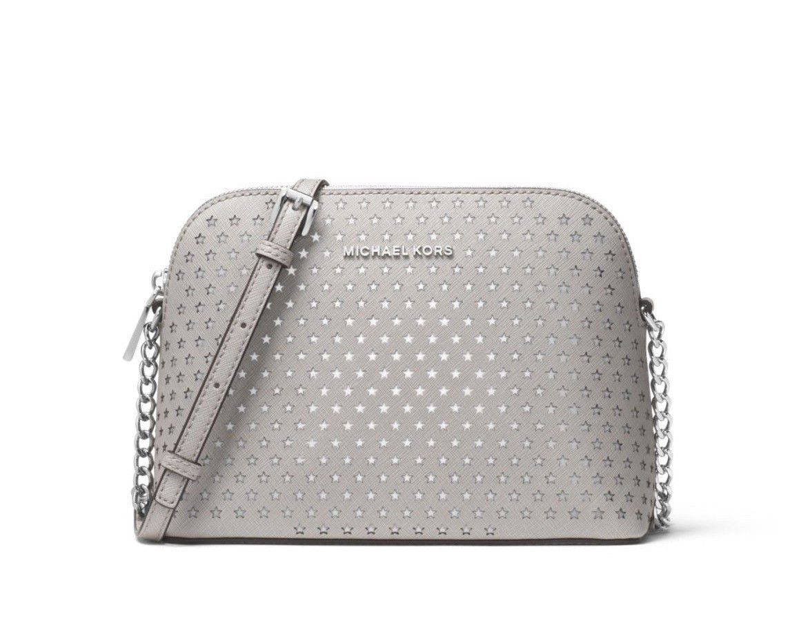 MICHAEL Michael Kors Cindy Perforated Saffiano Star Leather Crossbody in Pearl Grey