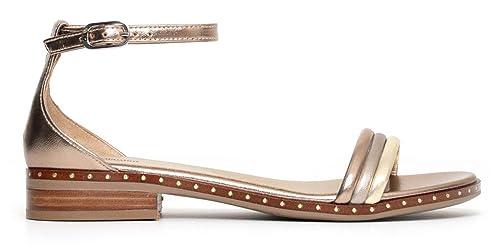 Sandali NeroGiardini P805791D 434 5791 scarpe donna in pelle laminato sandalo