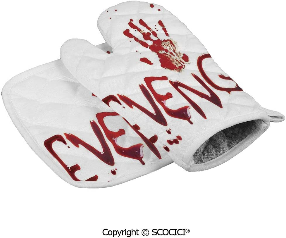 SCOCICI Oven Mitts,Professional Heat Resistant Handprint Revenge with Splashed Blood Crime Help me Horror Creepy Scary Grunge Non-Slip Kitchen Oven Glove for Cooking,Baking,Barbecue Potholders