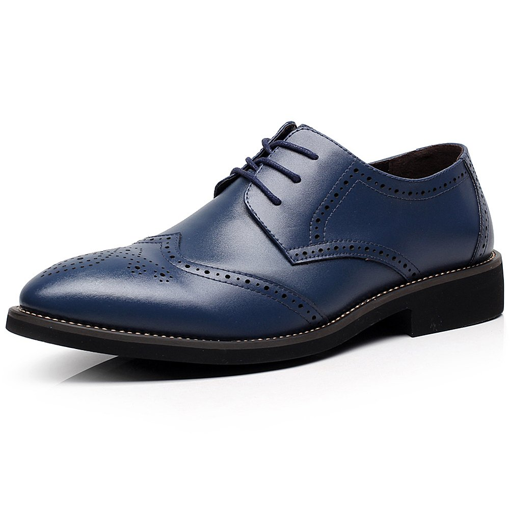 rismart British Style Men's Fashion Pointed-Toe Oxfords Brogue Dress Leather Shoes Navy 856 US7.5 by rismart