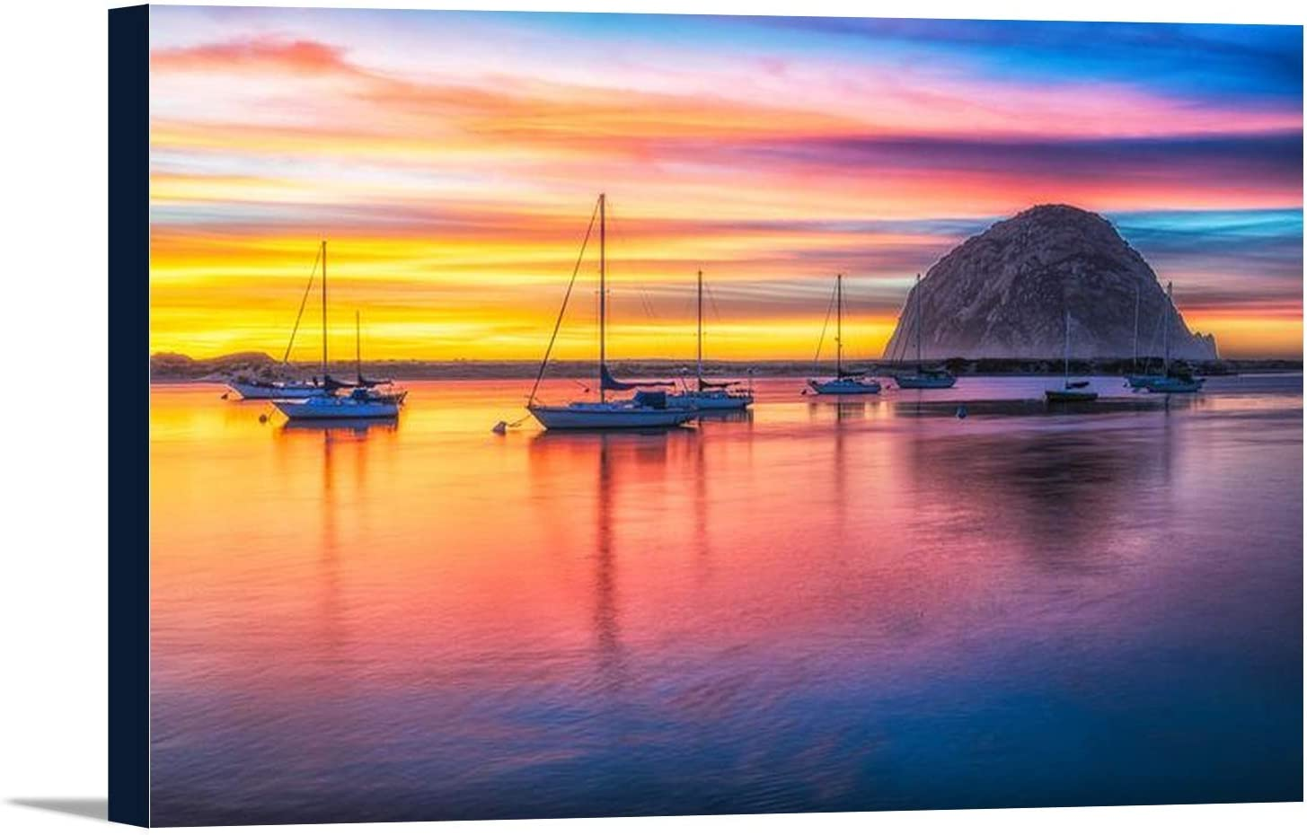 Morro Bay California Rock Boats At Sunset 9033060 36x24 Gallery Wrapped Stretched Canvas Wall Art