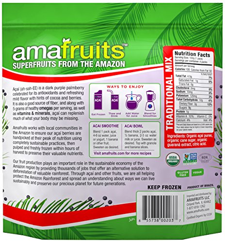 Amafruits Acai Traditional Mix with Guarana - 144 Smoothie Packs by Amafruits (Image #1)