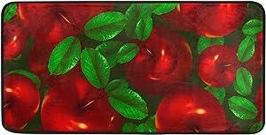 CiCily Doormat Area Rug Red Apple for Bedroom Front Door Kitchen Indoors Home Decors