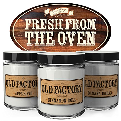 Scented Candles - Fresh from the Oven - Set of 3: Apple Pie, Cinnamon Roll, and Banana Bread - 3 x 4-Ounce Soy Candles - Each Votive Candle is Handmade (Each Bread)