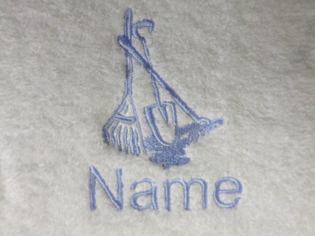 Albornoz con capucha para bebé de color blanco o blanco toalla con capucha con herramientas de jardín Logo y nombre de su elección., Blanco, Hooded Towel ...