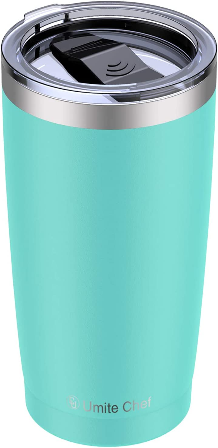Umite Chef 20oz Stainless Steel Tumbler with Lid, Double Wall Vacuum Insulated Travel Mug Tumbler with Straw, Durable Insulated Coffee Mug for Hiking, Camping & Traveling(Mint Green)