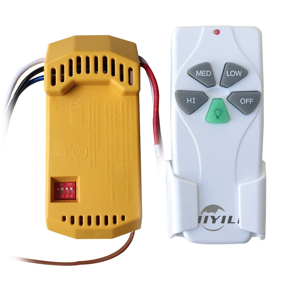 Hiyill 18r St6 Universal Ceiling Fan Remote Control Kit Allows Power To The Green Output Wire Low Speed Home Kitchen
