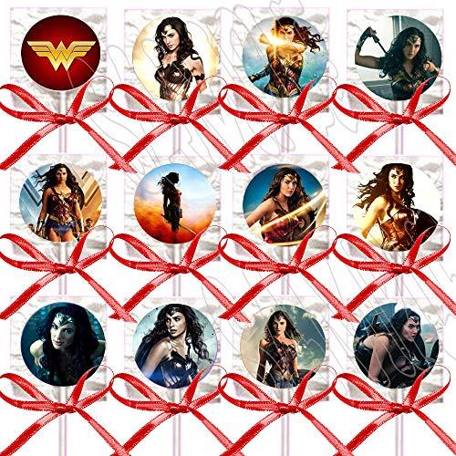 Wonder Woman Lollipops Party Favors Supplies Decorations Disney Movie Lollipops with Red Ribbon Bows Party Favors -12 pcs ()