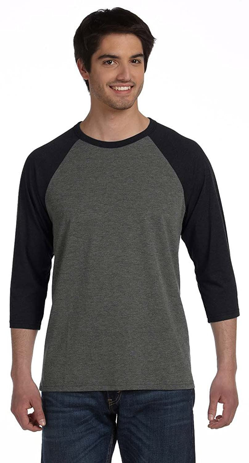 Bella + Canvas Unisex 3/4-Sleeve Baseball T-Shirt (3200) BLACK MRBLE/BLCK