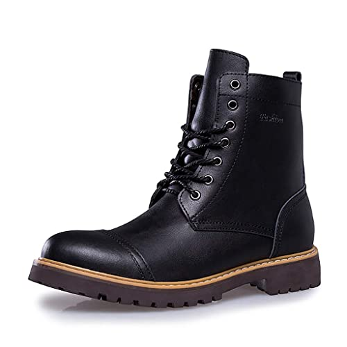 8edcbf038a1 ENLEN&BENNA Work Boots for Men Motorcycle Dress Boot Casual Boot Fashion  Boot Combat Boots Leather Waterproof Cap Toe Tan