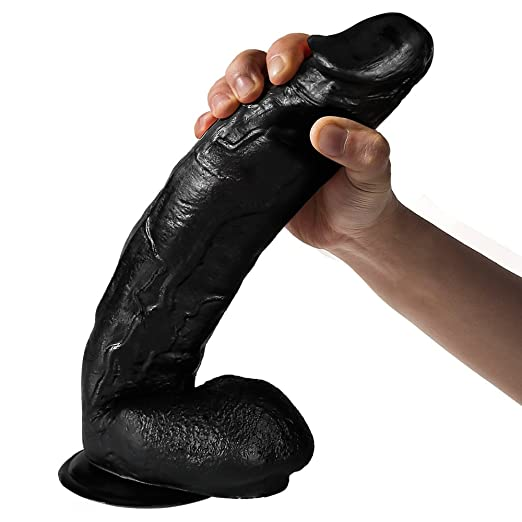 Liquid Silicone Dildo, Nabini Huge Black 11.8 inch Thick Realistic Suction Cup Waterproof Dildo