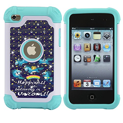 iPod 4 Case, iPod Touch 4 Case, MagicSky [Shock Absorption] Studded Rhinestone Bling Hybrid Dual Layer Armor Defender Protective Case Cover For iPod Touch 4th Generation - Unicorns