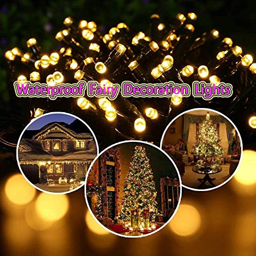 Solar Outdoor String Lights- 200 LED 8 Modes String Lights, 2-Pack Solar Garden Lights, Decoration Lights Waterproof Fairy Lights for Tree, Patio, Home, Yard, Party, Wedding (72FT, Warm White)