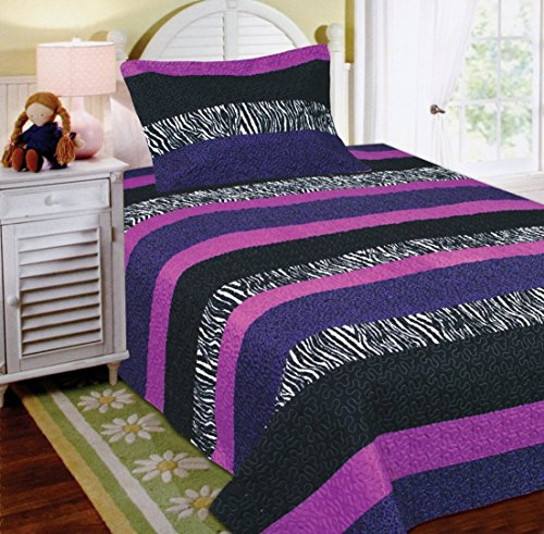 Fancy Collection 2pc Twin Size Quilted Bedspread Set Stripped Zebra Print Purple Black White -