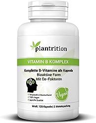 Vitamin B Komplex hochdosiert Vegan - plantrition alle acht B-Vitamine - Bioaktiv & mit Co-Faktoren - B1, B2, B3, B5, B6, B12, D-Biotin & Folsäure - 120 Kapseln