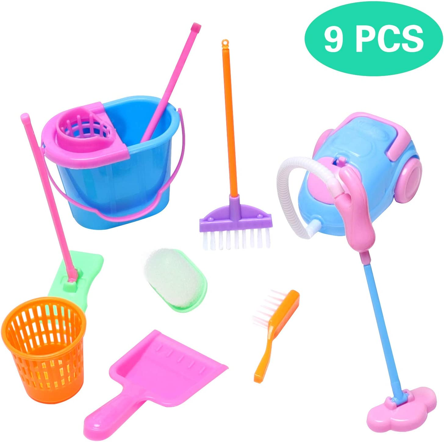 Snake 9pcs/Set Mini Pretend Play Clean Sets -Including Cleaning Toys Broom, Dustpan, Brush, Bucket, Mop, Great Toy Gift for kids