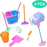 Snake 9pcs/Set Mini Pretend Play Clean Sets -Including Cleaning Toys Broom, Dustpan, Brush, Bucket, Mop, Great Toy Gift…