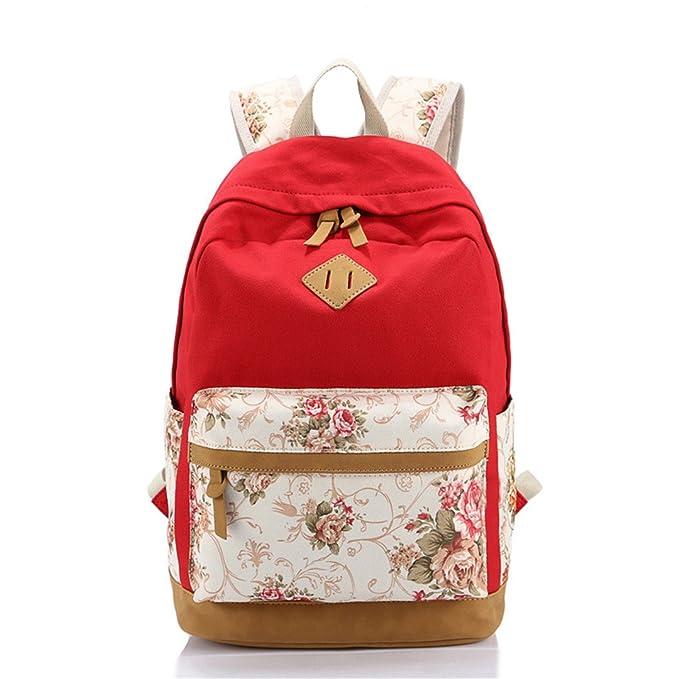 Amazon.com: SHUB Canvas Floral Printing Satchel Rucksack Backpacks ...