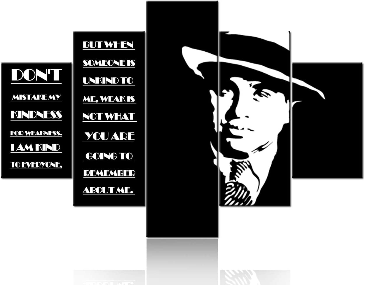 Native America Decor Al Capone Pictures Inspirational Motivational Paintings Modern-day Robin Hood Wall Art-5 Pcs/Multi Panel Canvas Artwork Living Room Ready to Hang Posters and Prints(60''Wx40''H)