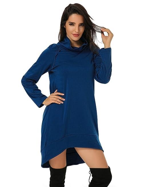 Auxo Vestidos Mujer Cuello Alto Manga Marga Suelto Jumpsuit Ocio Ocasionales Casual Loose Otoño Azul ES