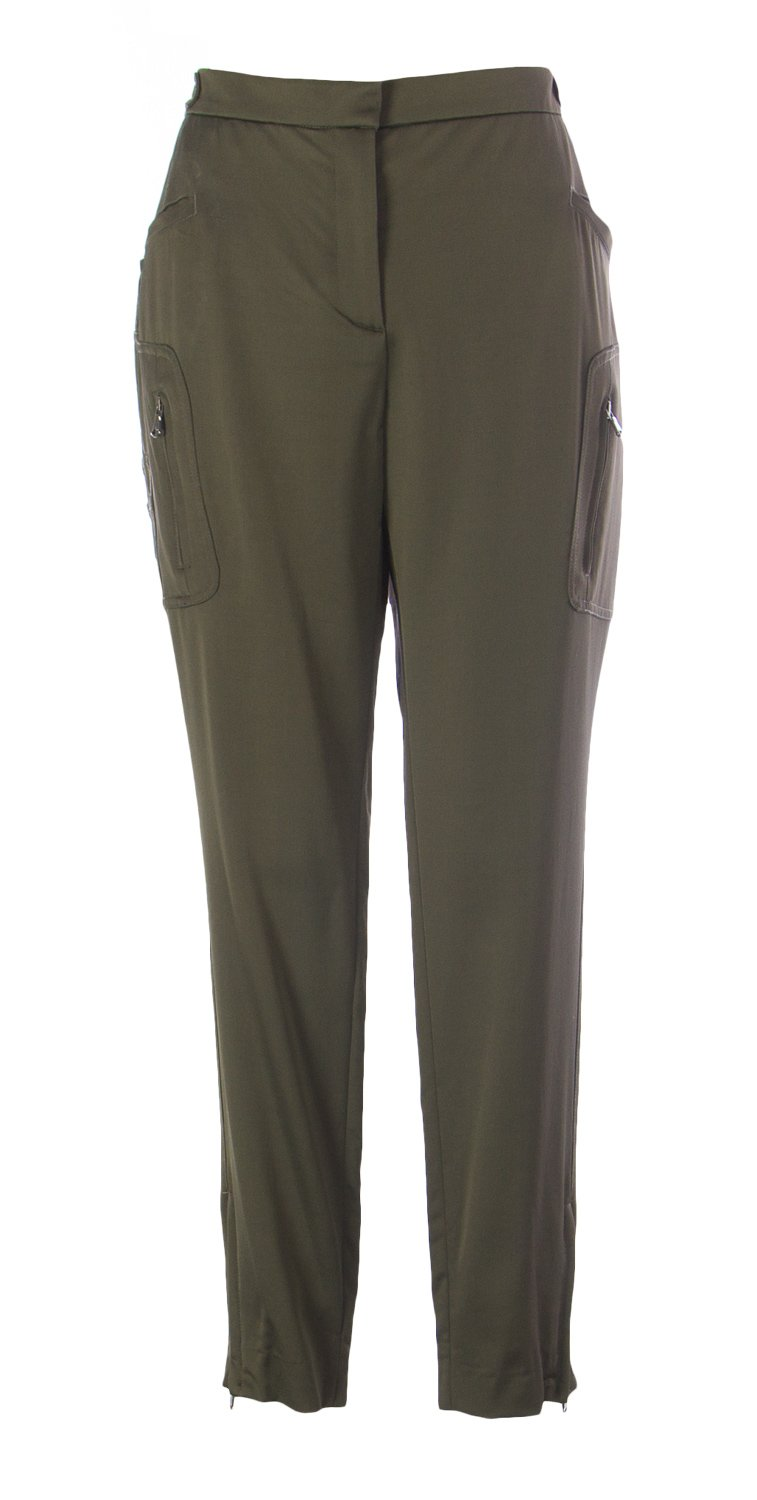 TRUE ROYAL Women's Zipper Casual Pants IT 46 Khaki Green