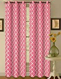1 Set Hot Pink White 108'' Geometric Lined Blackout Grommet Window Curtain