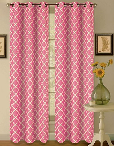 1 Set Hot Pink White 108'' Geometric Lined Blackout Grommet Window Curtain by Modern Curtain