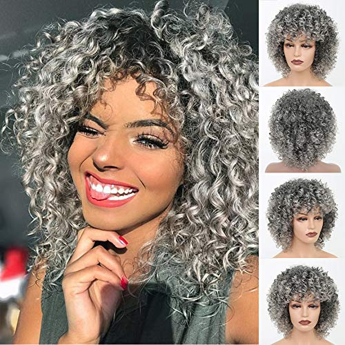 MERISIHARI Afro Curly Wigs Short Gray Synthetic Hair Heat Resistant Kinky Full Wigs for Black Women