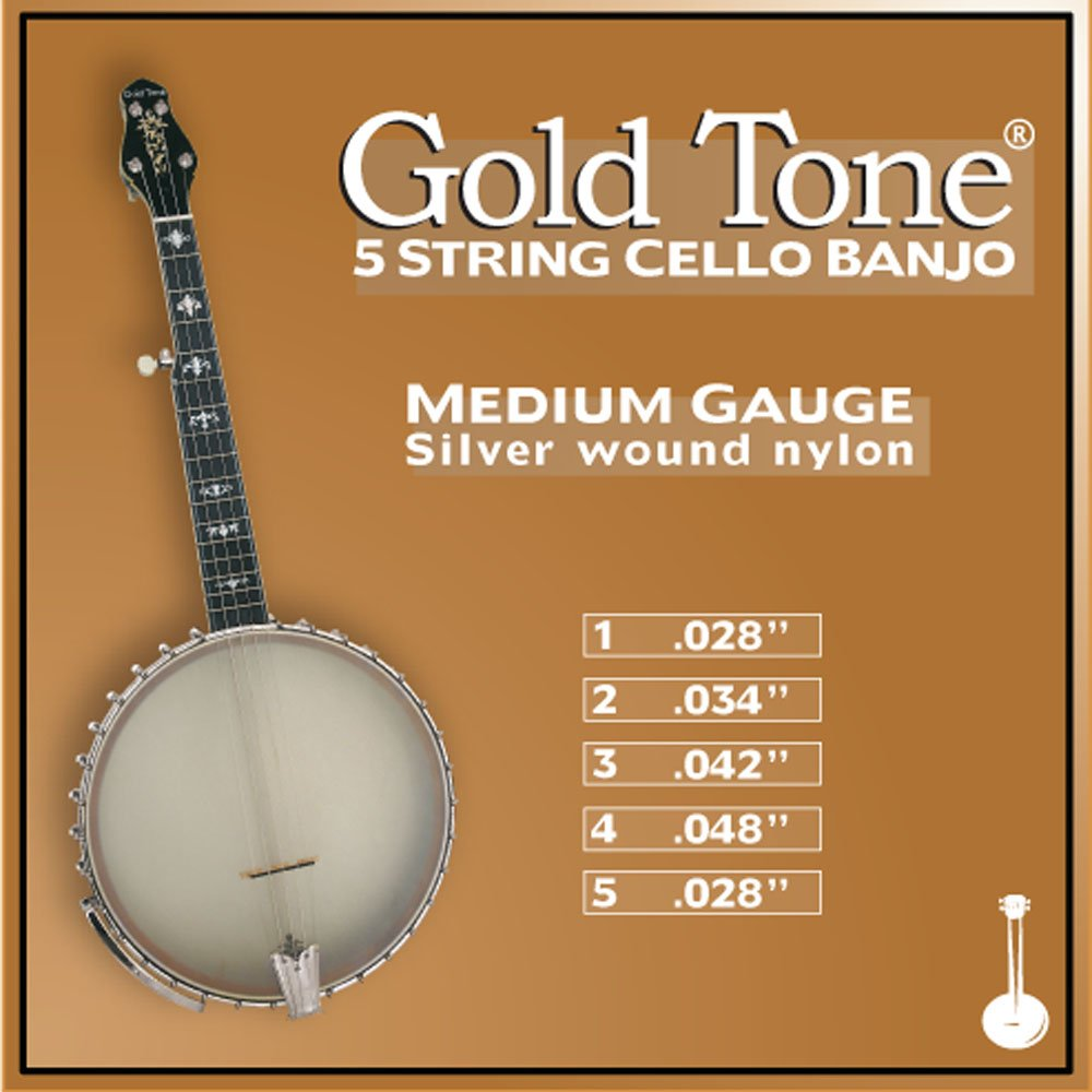 Gold Tone 5-String Cello Banjo Strings, Medium Gauge Gold Tone Musical Instruments CES5M