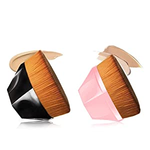 NUIBO Flawless Brush Petal-Shaped Foundation Brush, Kabuki Brush Suitable for Mixed Liquid, Cream or Flawless Powder Cosmetics, Multifunctional Makeup Brush with Bonus Protective Case (BLACK+PINK)