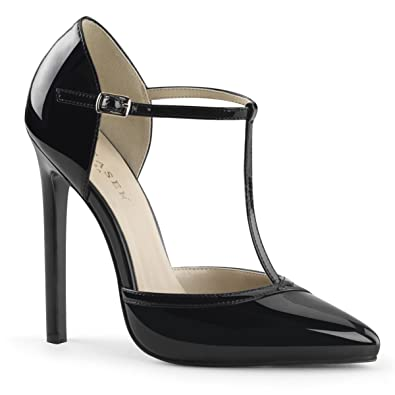 Womens Black Patent Pumps Shoes with 5 Inch Single Sole Heels and T-Strap  Size ecc69a0d1cd6