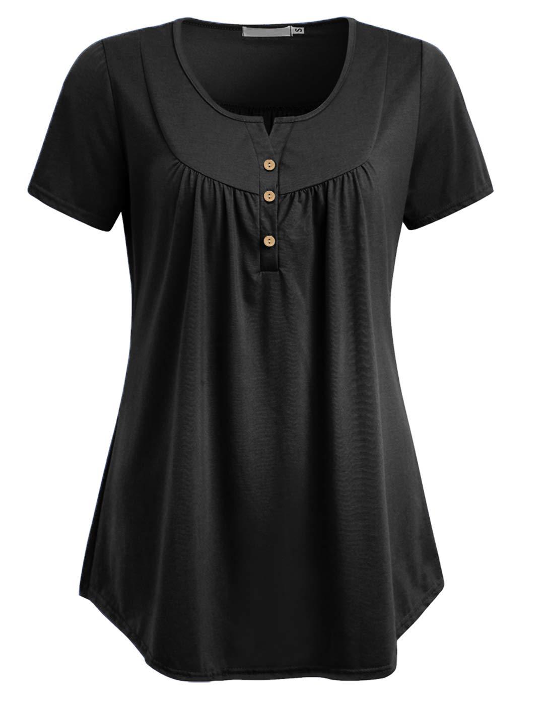 Duteabre Women's Short Sleeve Blouse Henley V Neck Pleated Button up Tunic Shirt Tops Black L