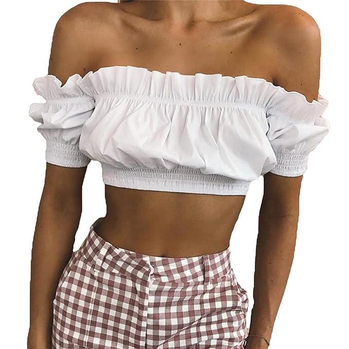 Hibote Manga Corta Camisetas Para Mujer Moda Color Sólido Slim Fit Camiseta Corte Sexy Fuera del