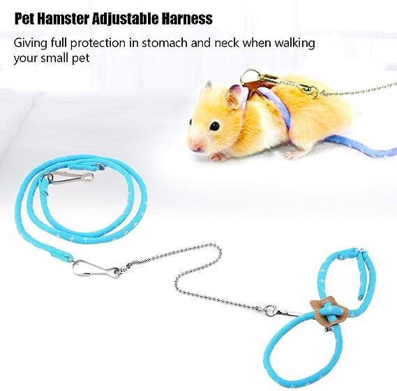 HEEPDD Pet Hamster Harness, Correa de Plomo de Entrenamiento al Aire Libre Ajustable Colorido Cuerda de tracción Anti-mordida Correas de Pecho Chaleco ...