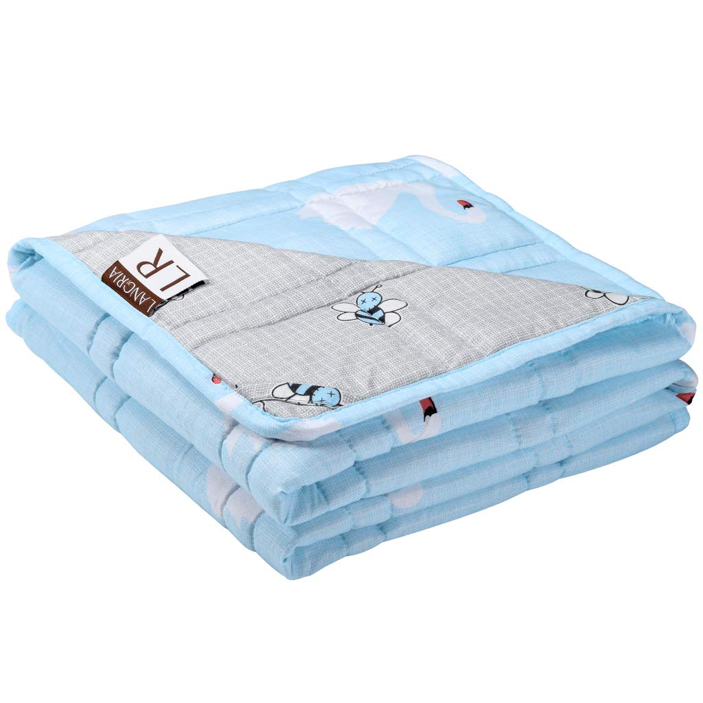 LANGRIA Weighted Blanket for Kids (5 lbs, 36''x48''), Cool Heavy Blanket for Sleeping | Soft Breathable Cotton Fabric with Odorless Glass Beads | Washable Heavy Blanket for Bed Sofa