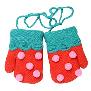 SetMei Toddler Baby Girls Boys Cute Thicken Striped Winter Warm Gloves for 1-5 Years Old